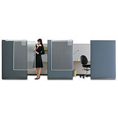 Quartet - Workstation Privacy Screen, 36w x 48d -  Translucent Clear/Silver