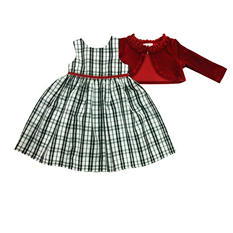 Girls' Black and White Dot Dress with Cardigan