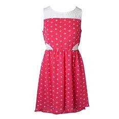 Pink & Violet Trendy Chiffon Coral Dot Midi Dress