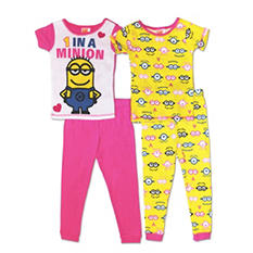 Despicable Me Girls 4-Piece Cotton Pajama Set