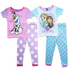 Disney's Frozen Toddler Girl 4-Piece Cotton Pajama Set