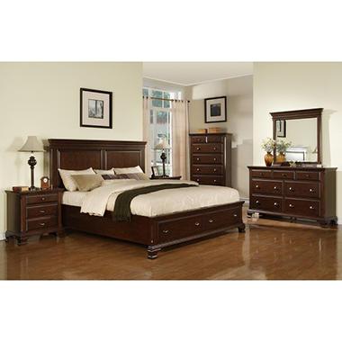 Brinley Cherry Storage Bedroom Set - King - 6 pc.