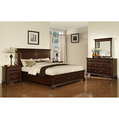 Brinley Cherry Storage Bedroom Set - King - 4 pc.