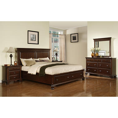Brinley cherry storage bedroom set choose your size for Choosing bedroom furniture