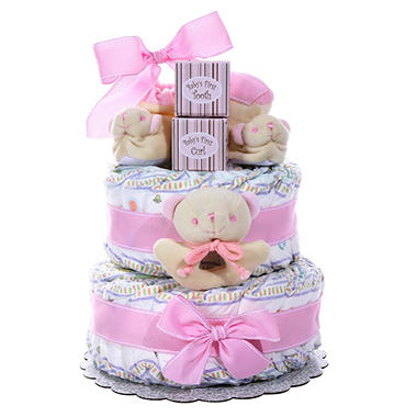 Girl's Two Tier Diaper Cake