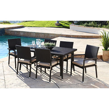Sophia 7 Piece Outdoor Dining Set With Cushions Sam 39 S Club