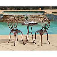 Eva Copper Cast Aluminum 3-Piece Outdoor Bistro Set