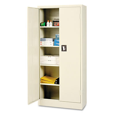 "Alera - Space Saver 66"" High Storage Cabinet - 4 Adjustable Shelves - Putty - 30""W X 15""D X 66""H"