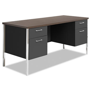 Alera - Double Pedestal Steel Credenza - Walnut/Black