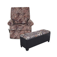 Camo Rocking Recliner and  Camo Gun Bench Bundle