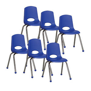 "ECR4Kids 16"" Ball Glide Stack Chair with Chrome Legs, Select Color - 6 Pack"