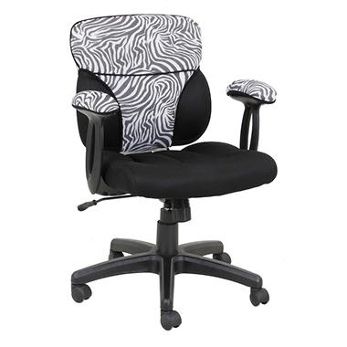 Global Furniture Cool Seating for You Customizable Office Chair Accent Cover - Zebra and Charcoal Gray