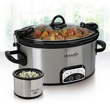 6 Quart Crock Pot with Lil Dipper - Stainless Steel