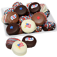 Patriotic Belgian Chocolate-Covered Classic Oreo Cookies (12 pc.)