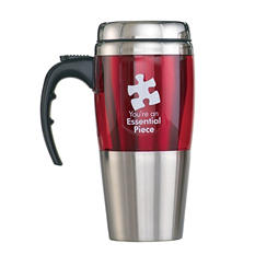 Baudville Stainless Steel Travel Mug Essential Piece, 4 Pack