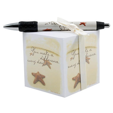 Baudville Starfish: Making a Difference Note Cube and Pen Gift Set, 4 Pack
