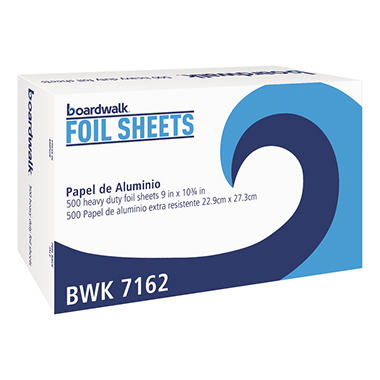 "Boardwalk Aluminum Foil Interfolded Sheets, 9"" x 10 3/4"", 500 per Box (6 Boxes)"