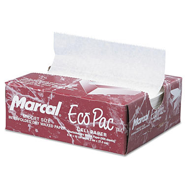 "Deliwrap Eco-Pac Interfolded Wax Paper - 6"" x 10 3/4"""