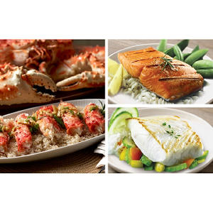 Copper River Seafood Premium Seafood Pack, Halibut (4 lb.), Salmon (3 lb.), Crab (3 lb.)