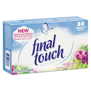 Final Touch Dryer Sheets, Spring Fresh - 6 ct. - 480 sheets