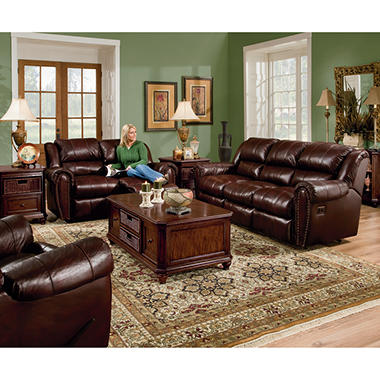 Lane Sidney Leather Reclining Sofa Set - 3 pc.