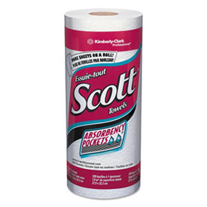 Scott - Kitchen Roll Towels, 11 x 8 25/32, White, 128/Roll -  20 Rolls/Carton