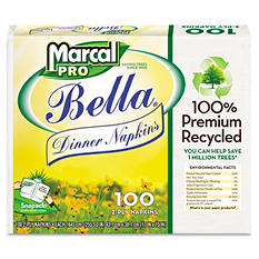 Marcal Pro 100% Premium Recycled Bella Snap-Pac Dinner Napkins, 30 packs