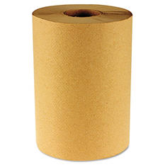 Boardwalk - Economy Hardwound Paper Towels, 1-Ply, 800 ft, Brown - 6 Rolls
