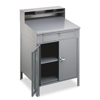 Tennsco Steel Cabinet Shop Desk ? Medium Gray