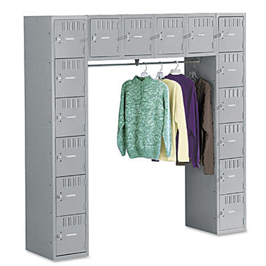 "Tennsco - Sixteen Box Compartments & Coat Bar, 72""W - Medium Gray"