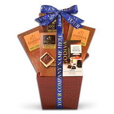 Godiva Chocolate Lover's Gift Basket with Custom Printed Ribbon