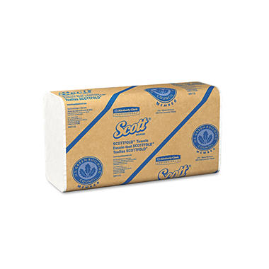 Kimberly-Clark Professional - SCOTT SCOTTFOLD Towels, 9 2/5 x 12 2/5, White, 175 Towels/Pack -  25 Packs/Carton