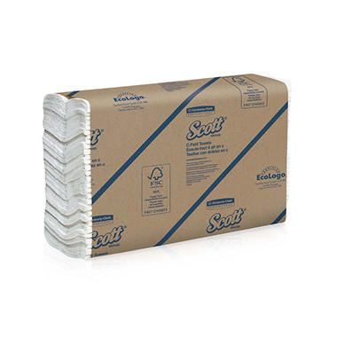 Kimberly-Clark Professional - SCOTT C-Fold Paper Towels, 10 1/8 x 13 3/20, White, 200/Pack -  12 Packs/Carton