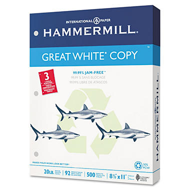 Hammermill - Great White 30% Recycled Copy Paper, 20lb, 92 Bright, 3 Hole Punched - Case
