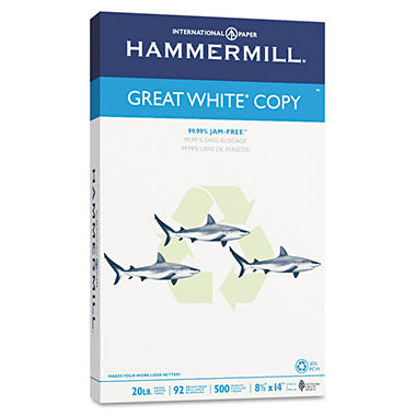 Hammermill - Great White 30% Recycled Copy Paper, 20lb, 92 Bright, 8-1/2 x 14