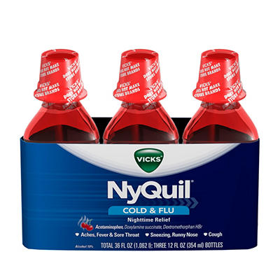 NyQuil Cold & Flu Relief Liquid, Cherry (12 fl. oz., 3 pk.)