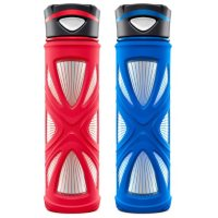2-Pack Zulu Core Glass Water Bottle Set,20oz. (Multi Colors)