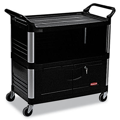 Rubbermaid Xtra™ Equipment Cart with Doors - Black