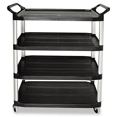 Rubbermaid 4 Shelf Cart, Open Sided - Black