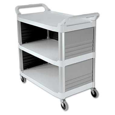 Rubbermaid Xtra? Utility Cart, Enclosed 3 Sides - Off White