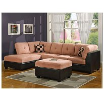 Williams Home Furnishing Sectional Set with Ottoman - Saddle/Espresso
