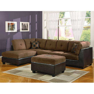 William's Home Furnishing Sectional Sofa Set with Ottoman - Select Chocolate or Saddle Microfiber