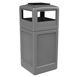 Commercial Zone Square Waste Container with Ashtray Lid, Polyethylene, 42-gal, Gray