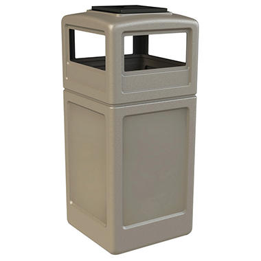 Commercial Zone Waste Container w/ Ashtray Dome Lid - Beige