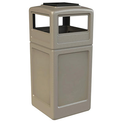 Commercial Zone Square Waste Container with Ashtray Lid, Polyethylene, 42-gal, Beige