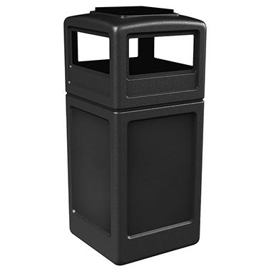Commercial Zone Waste Container w/ Ashtray Dome Lid - Black