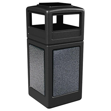 Commercial Zone StoneTec Waste Container with Ashtray Lid, 42-gal, Polyethylene, Black with Pepperstone Panels