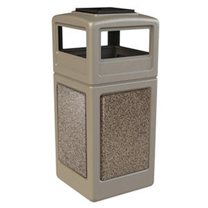 Commercial Zone StoneTec Waste Container with Ashtray Lid, 42-gal, Polyethylene, Beige with Riverstone Panels