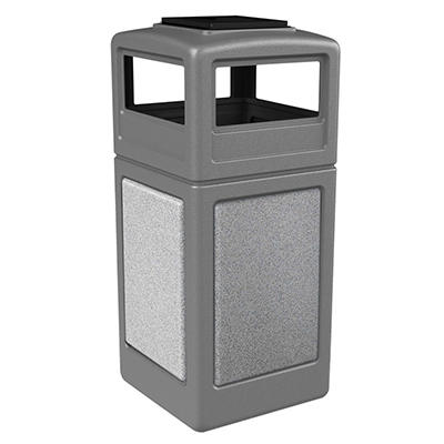 StoneTec Waste Container w/ Ashtray Dome - Gray - 38 gal.