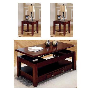 Logan Cherry Living Room Table Set - 3 pc.